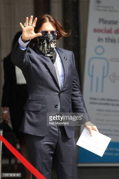 Johnny Depp arriving at Royal Courts of Justice Strand on July 24 2020 in London England American actor Johnny Depp is taking News Group Newspapers...