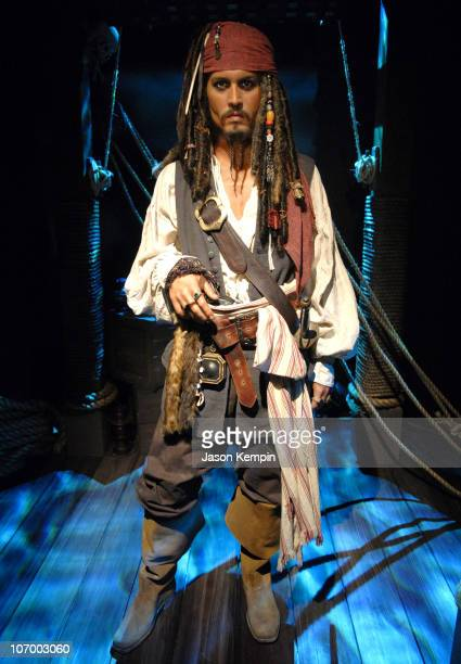 Johnny Depp as Captain Jack Sparrow during Pirates of the Caribbean Johnny Depp Wax Figure Unveiling At Madame Tussauds in New York City July 2006 at...