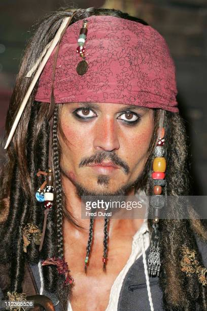 Johnny Depp as Captain Jack Sparrow during Pirates of the Caribbean Character Waxworks Unveiled at Madame Tussauds in London July 5 2006 at Madame...