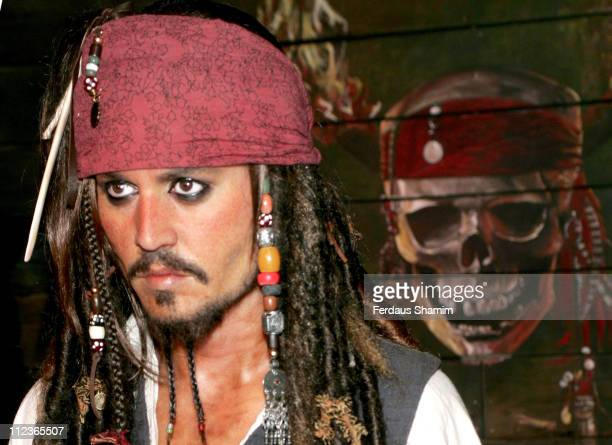 Johnny Depp as Jack Sparrow waxwork during Pirates of the Caribbean Character Wax Figures Unveiled at Madame Tussauds in London July 5 2006 at Madame...