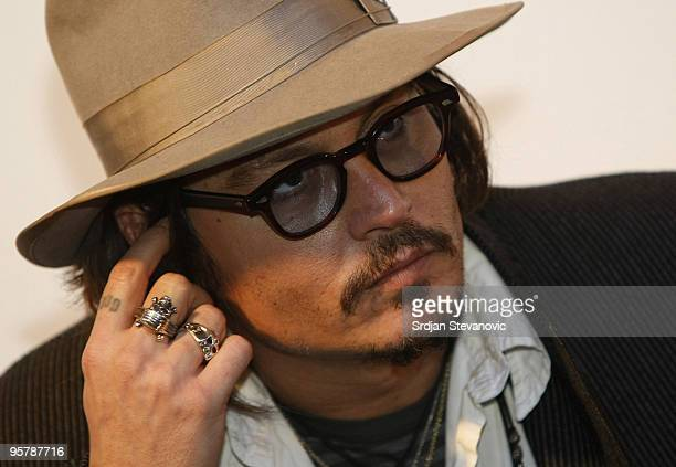 Johnny Depp attends a press conference during the Kustendorf music film festival day 2 on January 14 2010 in Belgrade Serbia
