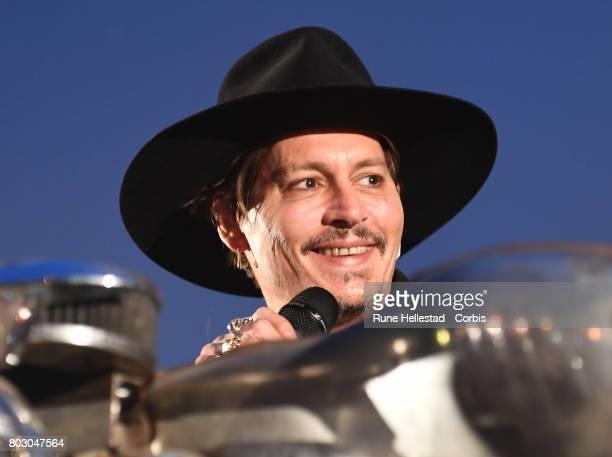 Johnny Depp attends day 1 of the Glastonbury Festival 2017 at Worthy Farm Pilton on June 22 2017 in Glastonbury England