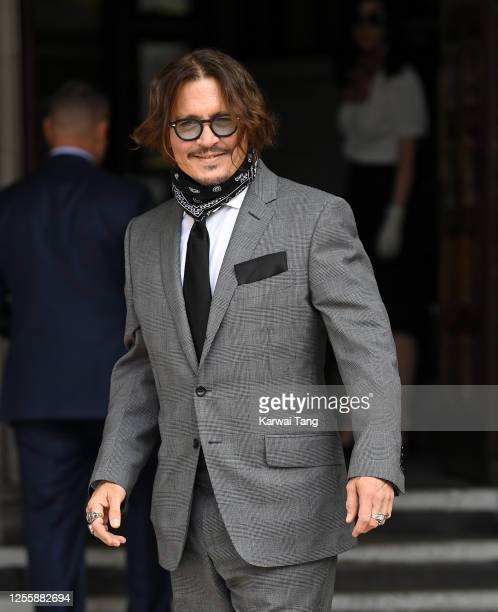 Johnny Depp attends day 5 of his libel case against The Sun Newspaper at the Royal Courts of Justice Strand on July 13 2020 in London England The...