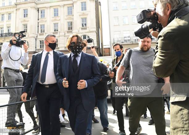 Johnny Depp attends day 6 of his libel case against The Sun Newspaper at the Royal Courts of Justice, Strand on July 14, 2020 in London, England....