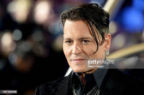 Johnny Depp attends 'Fantastic Beasts The Crimes Of Grindelwald' UK Premiere at Cineworld Leicester Square on November 13 2018 in London England