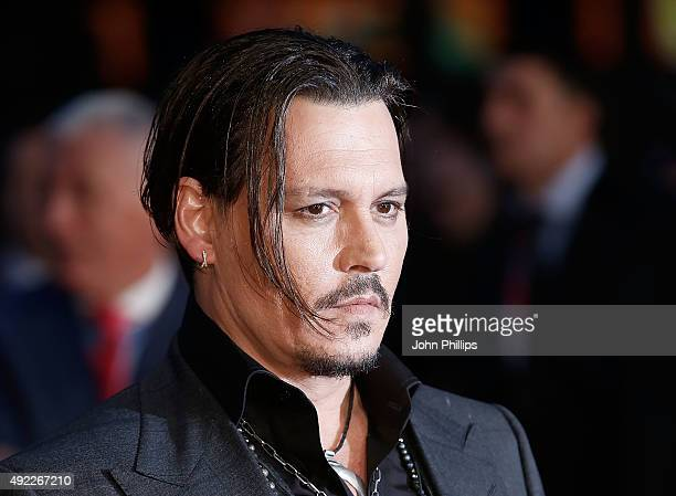 Johnny Depp attends the 'Black Mass' Virgin Atlantic Gala screening during the BFI London Film Festival at Odeon Leicester Square on October 11 2015...