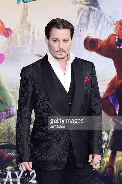 Johnny Depp attends the European premiere of 'Alice Through The Looking Glass' at Odeon Leicester Square on May 10 2016 in London England