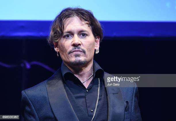 Johnny Depp attends the Japan Premiere of Pirates Of The Caribbean Dead Men Tell No Tales at the Shinagawa Prince Hotel on June 20 2017 in Tokyo Japan