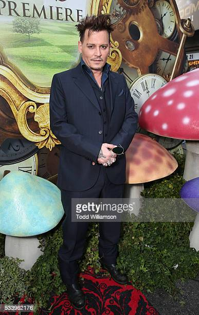 Johnny Depp attends the premiere Of Disney's 'Alice Through The Looking Glass' at the El Capitan Theatre on May 23 2016 in Hollywood California