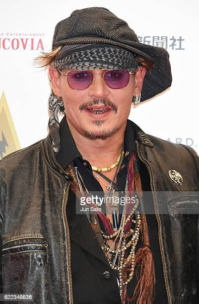 Johnny Depp attends the red carpet for the Classic Rock Awards at Ryogoku Kokugikan on November 11 2016 in Tokyo Japan
