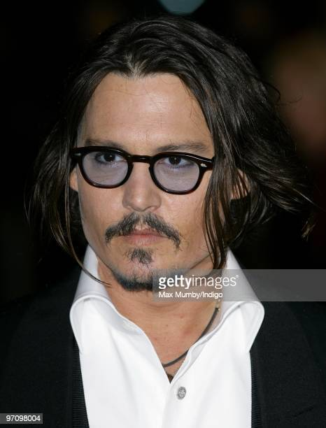 Johnny Depp attends the Royal World Premiere of 'Alice in Wonderland' at the Odeon Leicester Square on February 25 2010 in London England