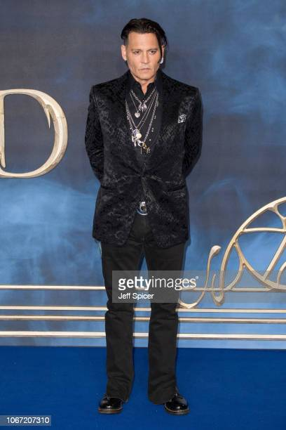 Johnny Depp attends the UK Premiere of 'Fantastic Beasts The Crimes Of Grindelwald' at Cineworld Leicester Square on November 13 2018 in London...