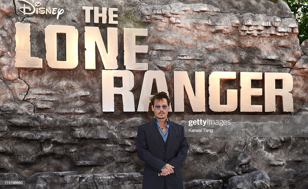 Johnny Depp attends the UK Premiere of 'The Lone Ranger' at Odeon Leicester Square on July 21, 2013 in London, England.