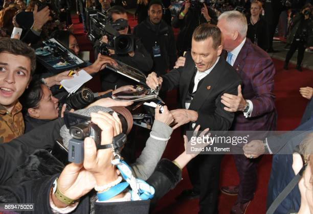 Johnny Depp attends the World Premiere of Murder On The Orient Express at The Royal Albert Hall on November 2 2017 in London England