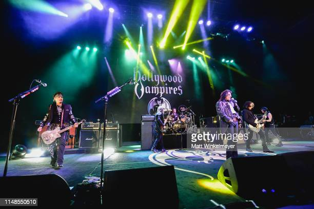 Johnny Depp Chris Wyse Glen Sobel Alice Cooper Joe Perry and Tommy Henriksen of The Hollywood Vampires perform at The Greek Theatre on May 11 2019 in...