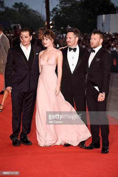 Johnny Depp Dakota Johnson director Scott Cooper and Joel Edgerton wearing a JaegerLeCoultre watch attend the ''Black Mass' premiere during the 72st...