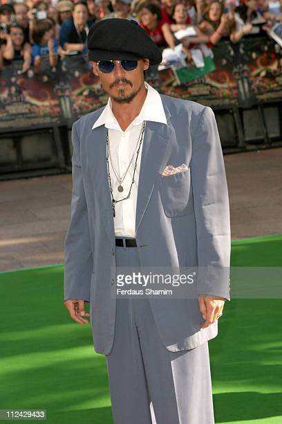 Johnny Depp during Charlie and the Chocolate Factory London Premiere Arrivals at Odeon Leicester Square in London Great Britain