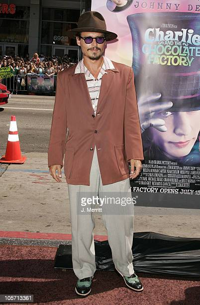 Johnny Depp during Charlie and the Chocolate Factory Los Angeles Premiere Arrivals at Grauman's Chinese Theater in Hollywood California United States
