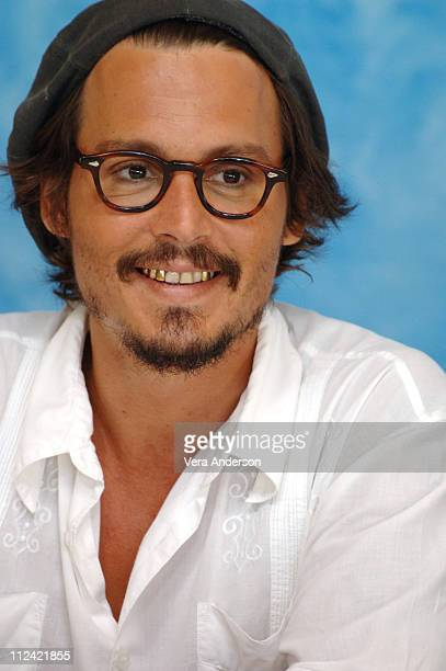 Johnny Depp During Charlie The Chocolate Factory Press Conference With Tim Burton