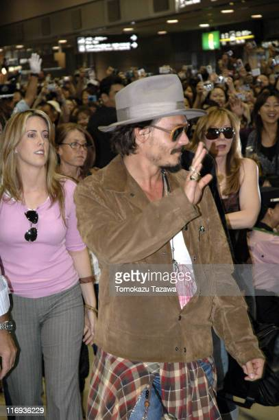 Johnny Depp during Johnny Depp Arrives in Japan to Promote 'Charlie and the Chocolate Factory' at Narita International Airport in Narita Japan