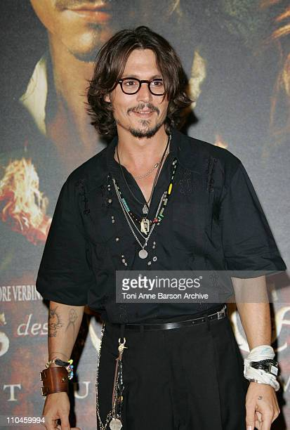 Johnny Depp during Pirates of The Caribbean Dead Man's Chest Paris Premiere at Gaumont Marignan Theater in Paris France