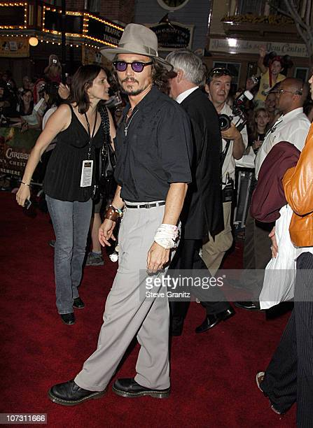 """Johnny Depp during World Premiere of Walt Disney Pictures' """"Pirates of the Caribbean: Dead Man's Chest"""" - Arrivals at Disneyland in Anaheim,..."""