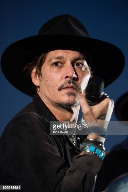 Johnny Depp indruduces a screening of 'The Libertine' film at the Cineramageddon cinema on day 1 of the Glastonbury Festival 2017 at Worthy Farm...