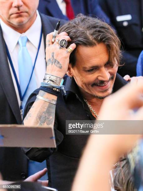 Johnny Depp is seen arriving at the premiere of Disney's 'Pirates Of The Caribbean Dead Men Tell No Tales' at Dolby Theatre on May 18 2017 in Los...