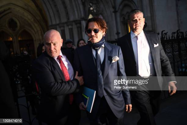 Johnny Depp is seen leaving the Royal Courts of Justice on February 26, 2020 in London, England. The Hollywood actor is suing The Sun newspaper over...