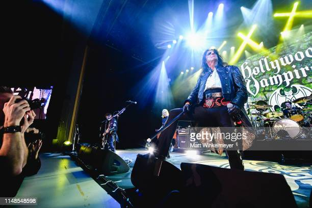 Johnny Depp Joe Perry and Alice Cooper of The Hollywood Vampires perform at The Greek Theatre on May 11 2019 in Los Angeles California