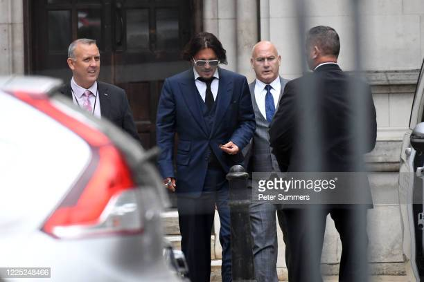 Johnny Depp leaves The Royal Courts of Justice, on the Strand on July 7, 2020 in London, England. Hollywood actor Johnny Depp is taking News Group...