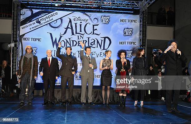 Johnny Depp Matt Lucas Crispin Glover Michael Sheen Mia Wasikowska Helena Bonham Carter Anne Hathaway and Tim Burton attend the 'Alice In Wonderland'...