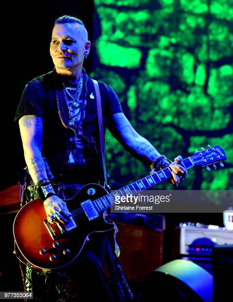 Johnny Depp of Hollywood Vampires performs at Manchester Arena on June 17 2018 in Manchester England