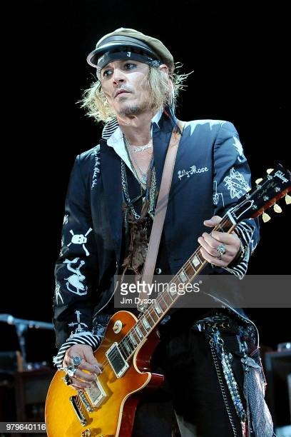 Alice Cooper and Joe Perry of Hollywood Vampires perform live on stage at Wembley Arena on June 20 2018 in London England