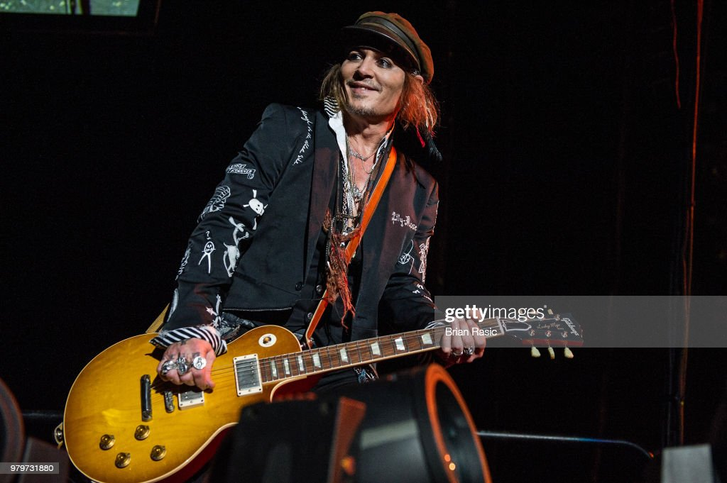 Johnny Depp of Hollywood Vampires performs live on stage at Wembley Arena on June 20, 2018 in London, England.