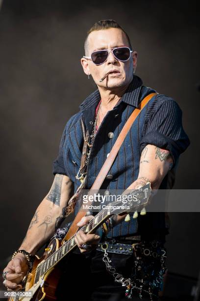 Chris Wyse of the band Hollywood Vampires performs in concert at Grona Lund on June 7 2018 in Stockholm Sweden