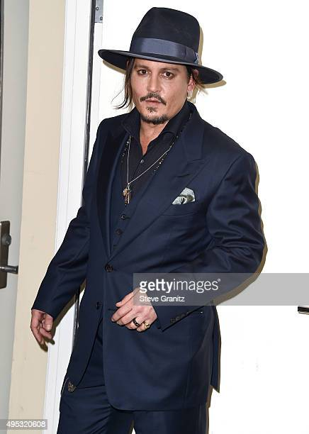 Johnny Depp poses at the 19th Annual Hollywood Film Awardsat The Beverly Hilton Hotel on November 1 2015 in Beverly Hills California