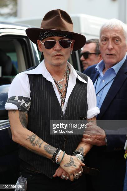 Johnny Depp seen leaving The Abbey Road Studios after watching a Paul McCartney secret gig on July 23 2018 in London England