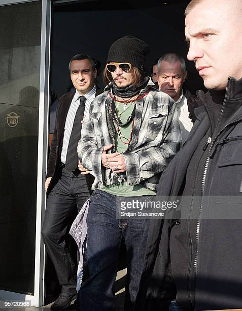 Johnny Depp sighted arriving in Belgrade to attend the Film Festival on January 12 2010 in Belgrade Serbia