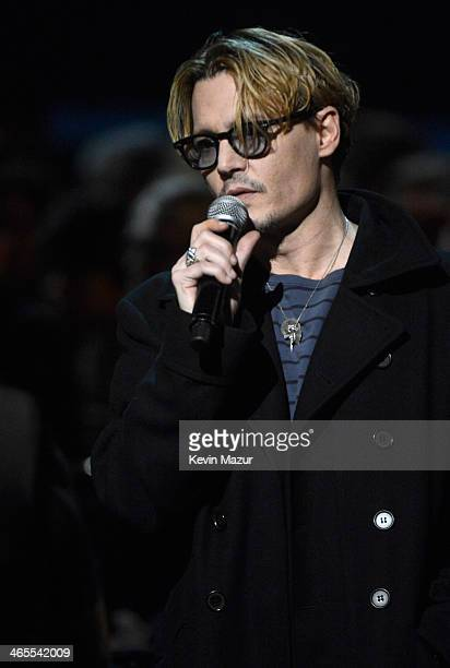 Johnny Depp speaks onstage at 'The Night That Changed America A GRAMMY Salute To The Beatles' at Los Angeles Convention Center on January 27 2014 in...