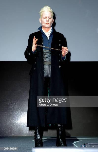 Johnny Depp speaks onstage at the Warner Bros 'Fantastic Beasts The Crimes of Grindelwald' theatrical panel during ComicCon International 2018 at San...