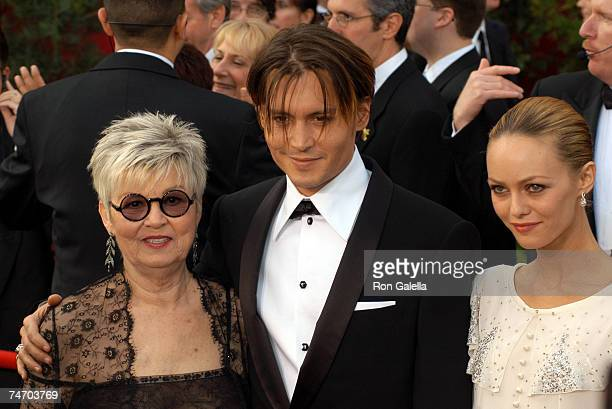 Johnny Depp , Vanessa Paradis and mother Betty Sue at the The Kodak Theater in Hollywood, California