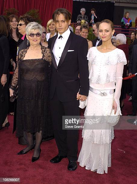 Johnny Depp, Vanessa Paradis and mother Betty Sue during The 76th Annual Academy Awards - Arrivals at The Kodak Theater in Hollywood, California,...