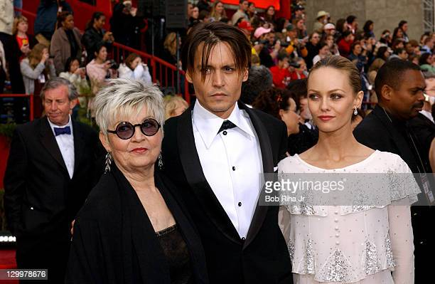 Johnny Depp , Vanessa Paradis and mother Betty Sue
