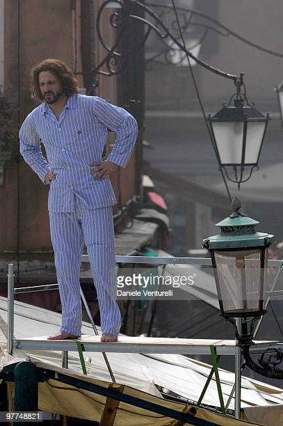 Johnny Depp's stuntman is seen during the filming of 'The Tourist' at the Mercato del Pesce on March 15 2010 in Venice Italy