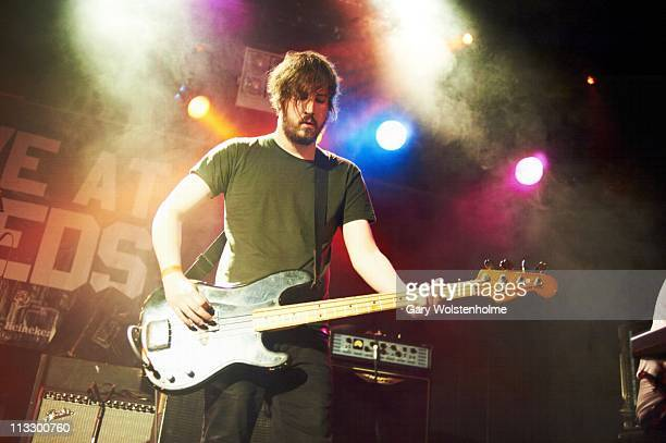 Johnny Docherty of The Twilight Sad performs on stage at Leeds Metroplitan University Students Union during the first day of Live At Leeds Festival...