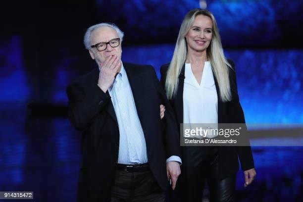 Johnny Dorelli and Gloria Guida attend 'Che Tempo Che Fa' tv show on February 4 2018 in Milan Italy