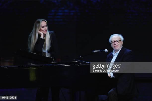 Johnny Dorelli and Gloria Guida attend 'Che Tempo Che Fa' tv show on February 4, 2018 in Milan, Italy.
