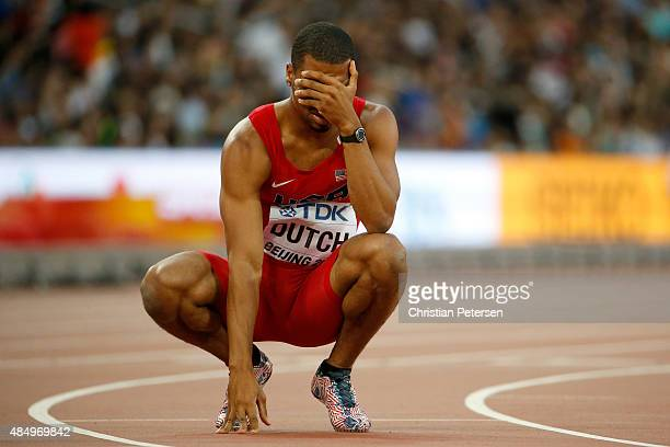 Johnny Dutch of the United States reacts after competing in the Men's 400 metres hurdles semi-final during day two of the 15th IAAF World Athletics...