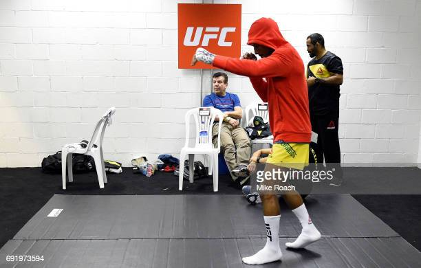 Johnny Eduardo of Brazil warms up in his locker room prior to his bout against Matthew Lopez during the UFC 212 event at Jeunesse Arena on June 3...